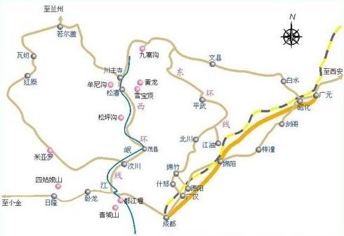 九寨沟交通地图